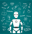 intelligent robot with educational icons design vector image vector image