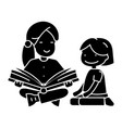 kindergarten teacher woman reading book to girl vector image