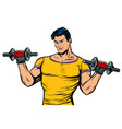 man with dumbbells isolate on white background vector image
