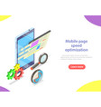 mobile page speed optimization isometric vector image vector image