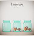 money glass jars background vector image