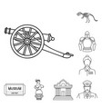 museum and gallery outline icons in set collection vector image