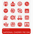 national cherry pie day icon set vector image