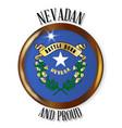 nevada proud flag button vector image