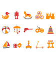 orange and red color toy icons set vector image vector image