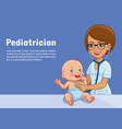 pediatrician and baby cartoon vector image vector image