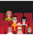 People sitting in movie theater eating popcorn vector image vector image