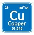 periodic table element copper icon vector image vector image