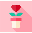 Pot with flower with heart vector image