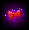 red bow tie slot icon for online casino or mobile vector image vector image
