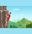 rock climbing man male on rock extreme vector image