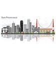 san francisco usa city skyline with gray vector image