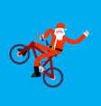 santa claus on bicycle bmx happy new year vector image vector image
