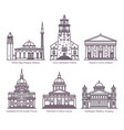 set cathedral church basilicamosque in line vector image