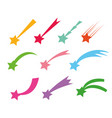 shooting stars icons falling star vector image