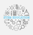 stem education round in thin vector image vector image