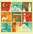traditional symbols of turkey and istanbul vector image vector image