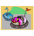 two funny bumper cars in cartoon style vector image vector image