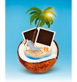 Vacation concept Palm tree photos and beach chair vector image vector image