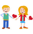 valentine card with cute girl and boy characters vector image