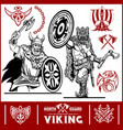 viking warrior with big axes vector image vector image