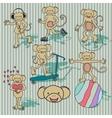 vintage monkey set vector image