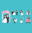 wedding couple isolated on bright blue background vector image vector image