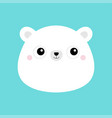 white bear cub face head icon cute kawaii animal vector image vector image