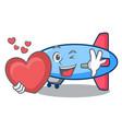 with heart zeppelin mascot cartoon style vector image