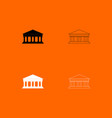 bank building black and white set icon vector image