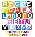 Colorful Paper Cut Funky Alphabet vector image