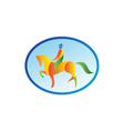 Equestrian Rider Dressage Oval Retro vector image