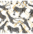 Hand drawn seamless pattern with zebra giraffe on vector image