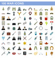 100 war icons set flat style vector image vector image