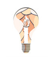 3d of a light bulb with burning vector image vector image
