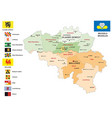 belgium administrative map with flag vector image vector image