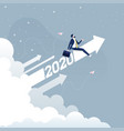 businessman riding 2020 arrow going up vector image vector image