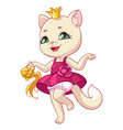 cat princess cartoon kitty vector image vector image