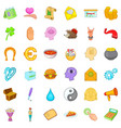 charity assistance icons set cartoon style vector image vector image