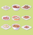 chinese cuisine dishes isolated labels vector image vector image