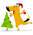 christmas dog character a cheerful pet decorates vector image vector image