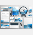 corporate business stationery big set with blue vector image vector image