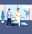 couple in airport man woman with luggage vector image vector image