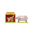 cow and a milking machine production of milk vector image vector image