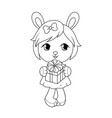 cute baby rabit girl in dress holding gift box vector image vector image