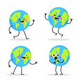 cute cartoon earth globe with emotions character vector image
