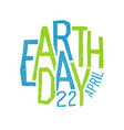 Earth day 22 april holiday logotype design