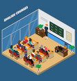 english courses isometric composition vector image