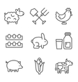 Farm gardening nature Flat line style icons vector image