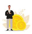 financial advisor businessman is standing near vector image vector image